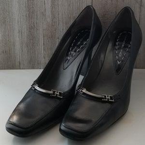 Bandolino Black Leather Pump Heels Square Toe